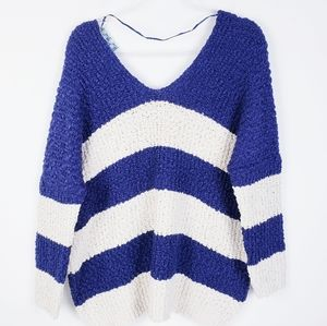 Chunky Knit Blue and Cream V-Neck Stripe Sweater …